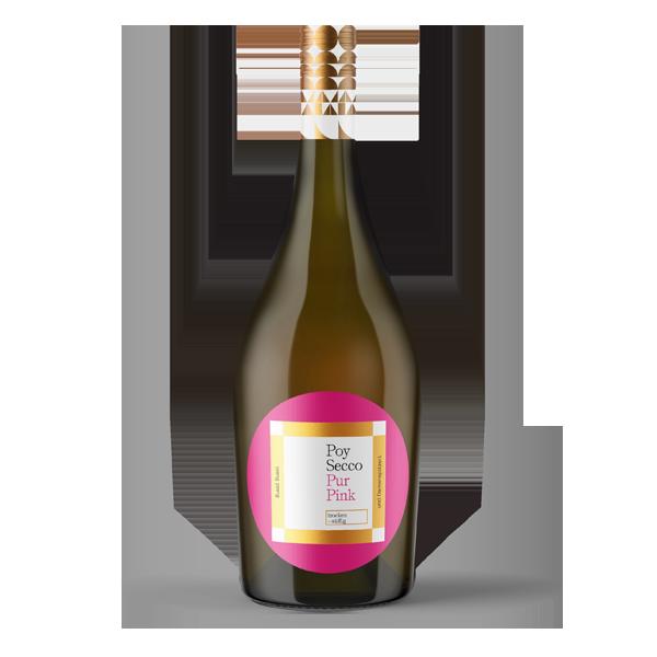 Poy-Secco Pur Pink. Unser Rosé-Frizzante mit ausgeprägtem Beerenaroma und saftiger Frucht. Angenehm mild. Glam und Elegenz am Gaumen.
