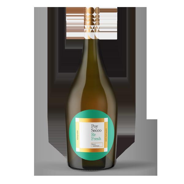 Poy-Secco ReFresh (vormals SMART). ReFresh ist der Bruder von Ooh La La! Gleicher Alkoholgehalt, gleiche Kohlensäure, jedoch etwas trockener. Belebender Genuss, perfekt pur oder zum Mischen.