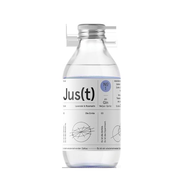 Jus(t) No.1 - 12/24 Flaschen. oder 24 Flaschen. Es ist Soda, Gin, Verjus und botanische Essenzen von Lavendel und Rosmarin.