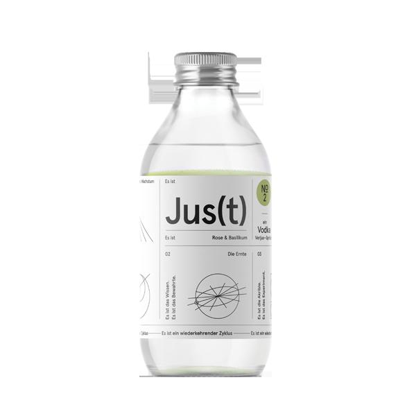 Jus(t) No.2 - 12/24 Flaschen. Es ist Soda, Vodka, Verjus und botanische Essenzen von Rose und Basilikum.