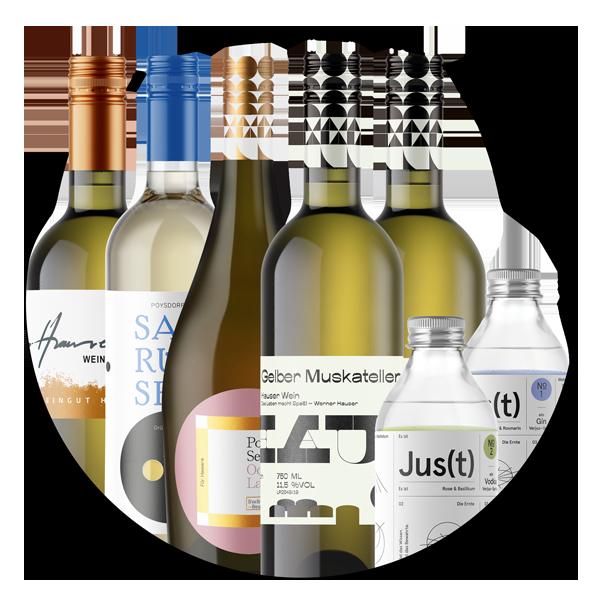 Premium Package Nr.1 - 1 Fl Casanova weiss - 1 Fl Ooh LaLa - 1 Fl Weinviertel DAC - 1 Fl Poysdorfer Saurüssel - 1 Fl Gelber Muskateller - 1 Fl Jus(t)1 und 1 Fl Jus(t)2 (inkl. 20 % MwSt.) - 1 Gescheinprobe (inkl. 20 % MwSt.)