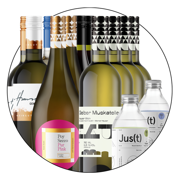 Premium Package Nr.2 - 1 Fl Weinviertel DAC - 1 Fl Ohlala - 1 Fl Pink (inkl. 20 % MwSt.) - 1 Fl Gemischter Satz - 1 Fl Poysdorfer Saurüssel - 1 Fl Veltliner FRIENDS - 1 Fl Sauvignon blanc - 1 Fl Gelber Muskateller - 1 Fl Roter Muskateller - 1 Fl Casanova weiss - 1 Fl Casanova rot - 1 Fl Jus(t)1 und Jus(t)2 (inkl. 20 % MwSt.) - 1 GEscheinprobe (inkl. 20 % MwSt.)