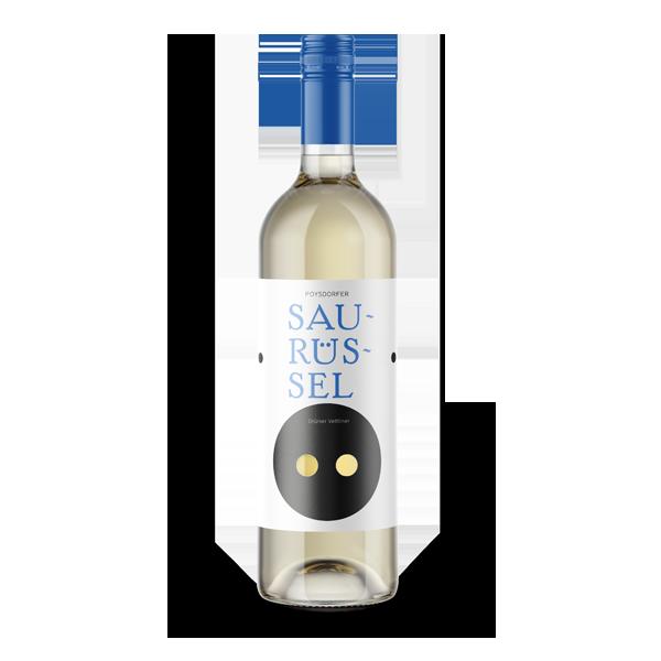 """Poysdorfer Saurüssel. Mit elf Prozent Alkohol ein leichter Genuss. Das """"Aushängeschild"""" der Weinregion Poysdorf. Die Trauben für den Saurüssel werden zu Beginn der Weinernte verarbeitet."""