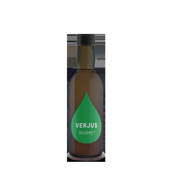 """Verjus Gourmet 0,25 l. Das Wort Verjus kommt aus dem Französischen und bedeutet übersetzt """"grüner Saft"""". Verjus Gourmet ist hausgemacht, mit besonderem Blick auf qualitatives, gutes Handwerk."""